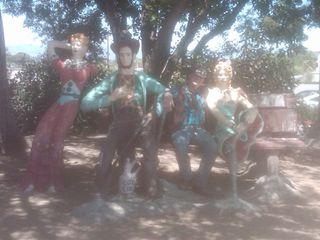 Jake with John Ehn's sculptures
