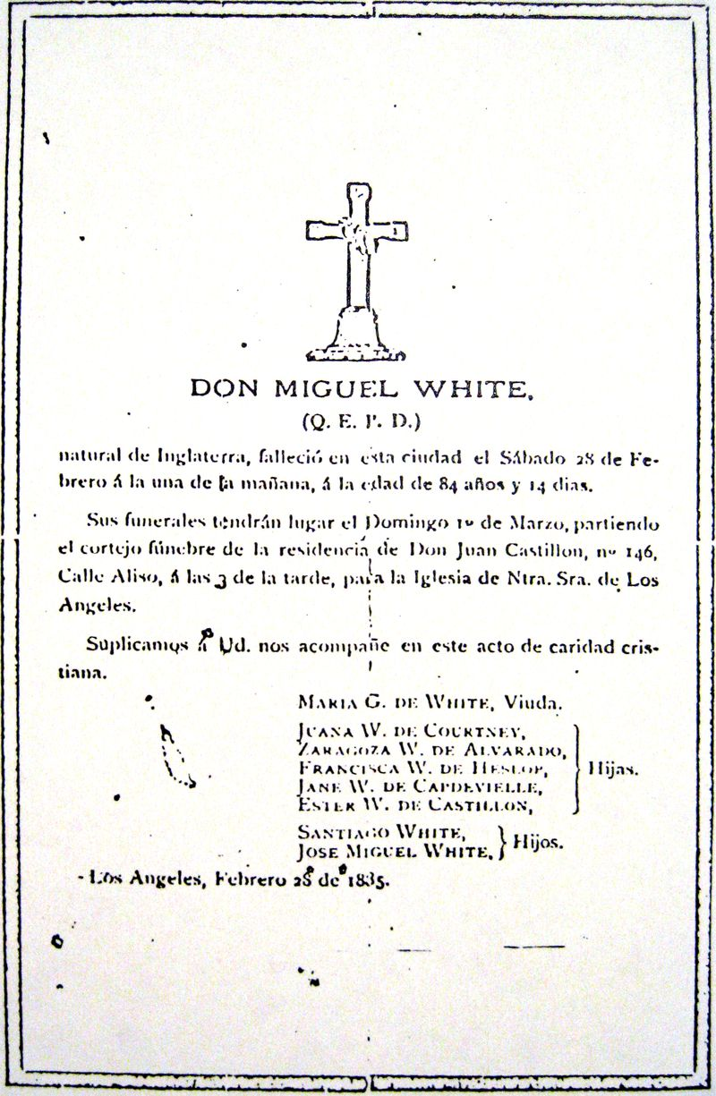 MIGUEL WHITE FUNERAL CARD